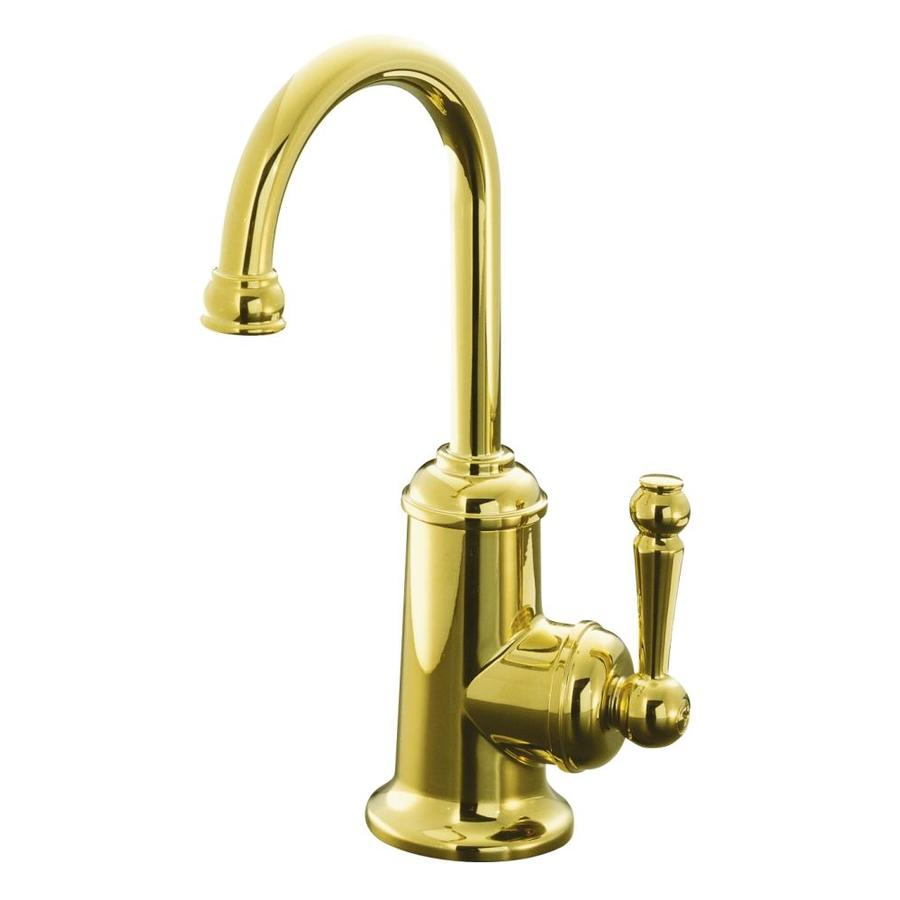 kohler wellspring vibrant polished brass 1 handle high arc kitchen