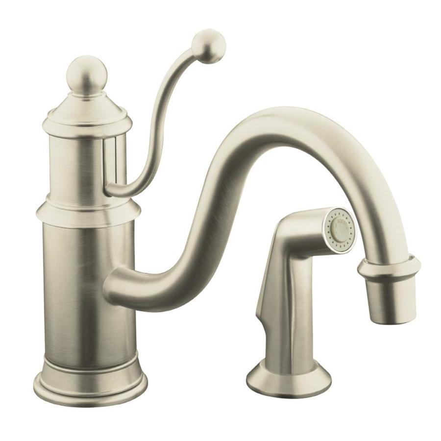 Kohler Brushed Nickel Kitchen Faucet : KOHLER Antique Vibrant Brushed Nickel 1-Handle Low-Arc Kitchen Faucet ...