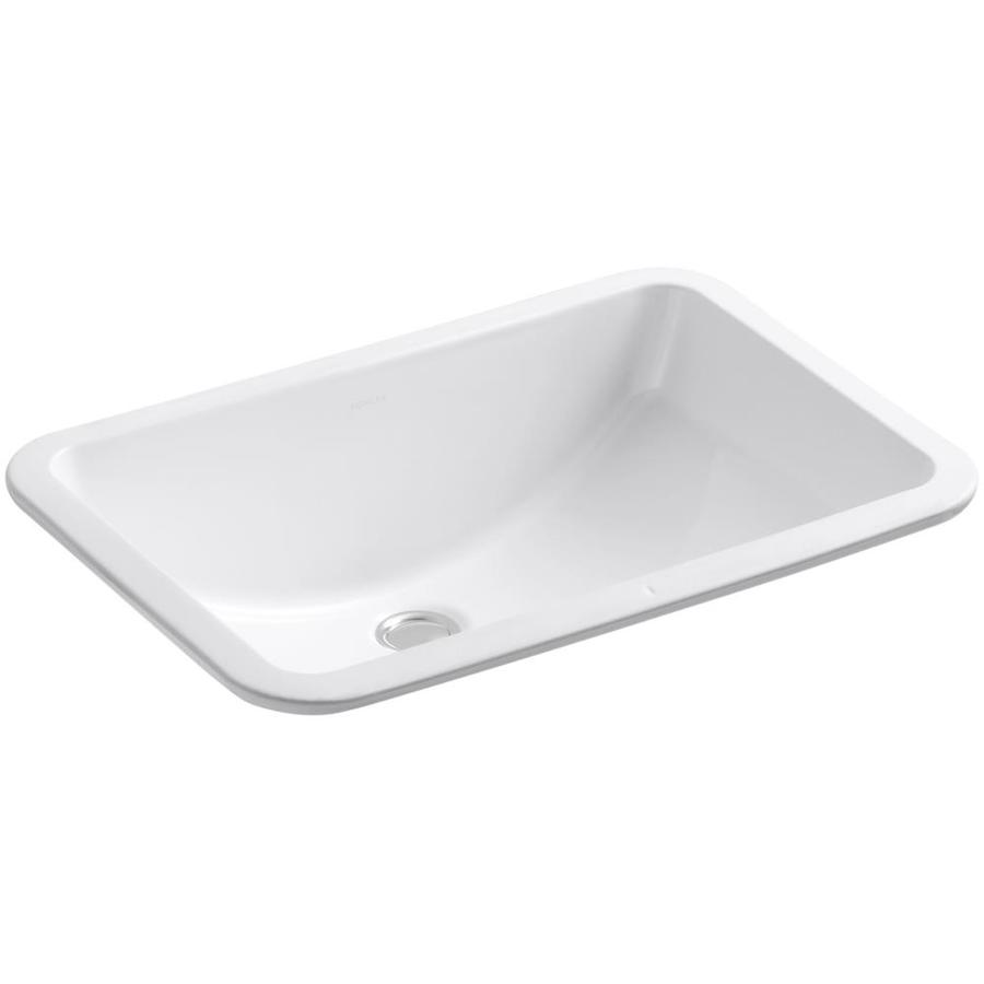 Shop kohler ladena white undermount rectangular bathroom for Bathroom undermount sinks