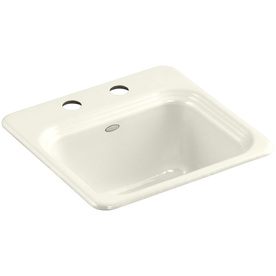 KOHLER Northland Biscuit Single-Basin 2-Hole Cast Iron Drop-In Commercial Bar Sink