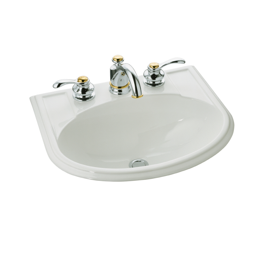 Bathroom Sink Drop In : ... in kohler devonshire biscuit drop in oval bathroom sink with overflow