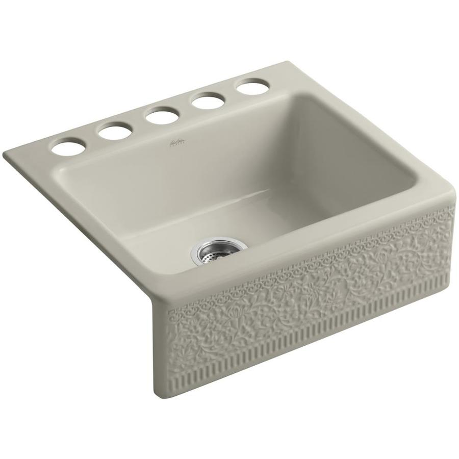 Shop KOHLER Interlace Single-Basin Undermount Fireclay Kitchen Sink at ...