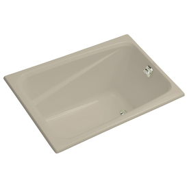 shop kohler greek sandbar acrylic rectangular drop in bathtub with
