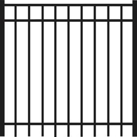 Freedom New Haven Black Aluminum Decorative Fence Gate (Common: 4-ft x 5-ft; Actual: 3.875-ft x 5.04-ft)