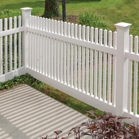 Freedom Ready-to-Assemble Kewsick Straight White Vinyl Fence Panel (Common: 8-ft x 4-ft; Actual: 7.56-ft x 4-ft)