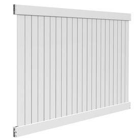 Barrette Contractor Stratford White Flat-Top Privacy Vinyl Fence Panel (Common: 72-in x 8-ft; Actual: 72-in x 7.58-ft)