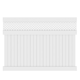 Barrette Elite Hamden 6-ft x 8-ft White Lattice-Top Privacy Vinyl Fence Panel