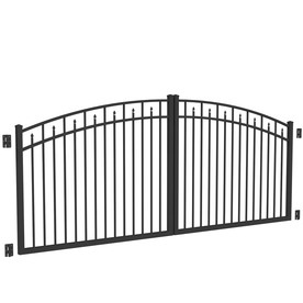 Shop freedom black aluminum driveway gate common 12 ft for Aluminum driveway gates prices