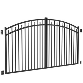Shop freedom black aluminum driveway gate common 10 ft for Aluminum driveway gates prices