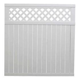 Freedom 6' x 6' White Privacy Lattice-Top Vinyl Fence Panel