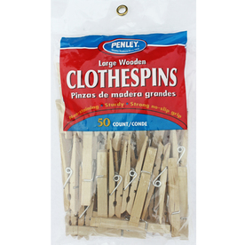 Penley 50-Pack Natural Wood Finish with Zinc Plated Steel Springs Clothespins