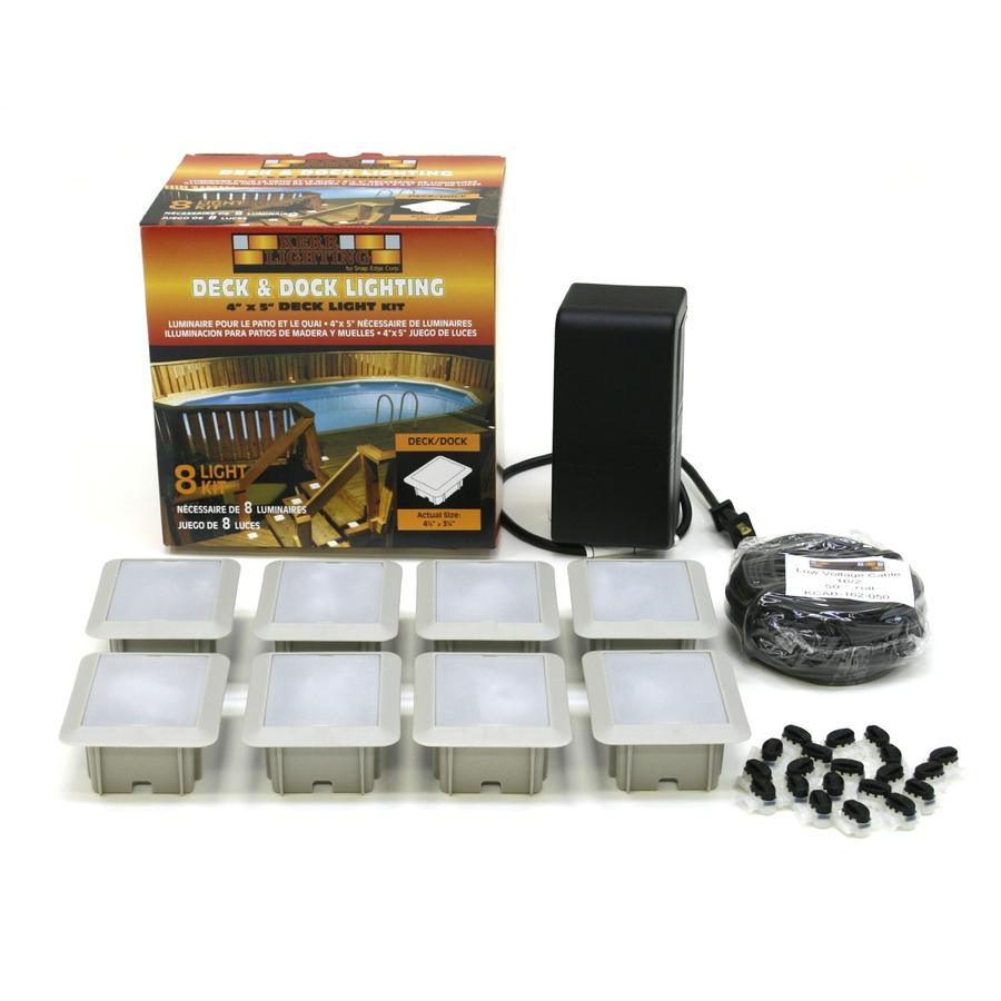Shop kerr lighting 8 light white low voltage deck lights for Low voltage outdoor lighting kits