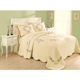 Modern Heirloom Angela Embroidered 1-Piece Cream King Bedspread Set