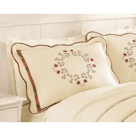 Modern Heirloom Angela Embroidered 1-Piece Cream Queen/King Sham Set