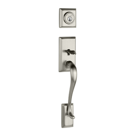 Shop Kwikset Adjustable Satin Nickel Hawthorne Entry Door Handleset Trim Kit