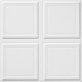 Armstrong Raised Panel HomeStyle 6-Pack White Coffered 15/16-in Drop Acoustic Panel Ceiling Tiles (Common: 24-in x 24-in; Actual: 23.735-in x 23.735-in)