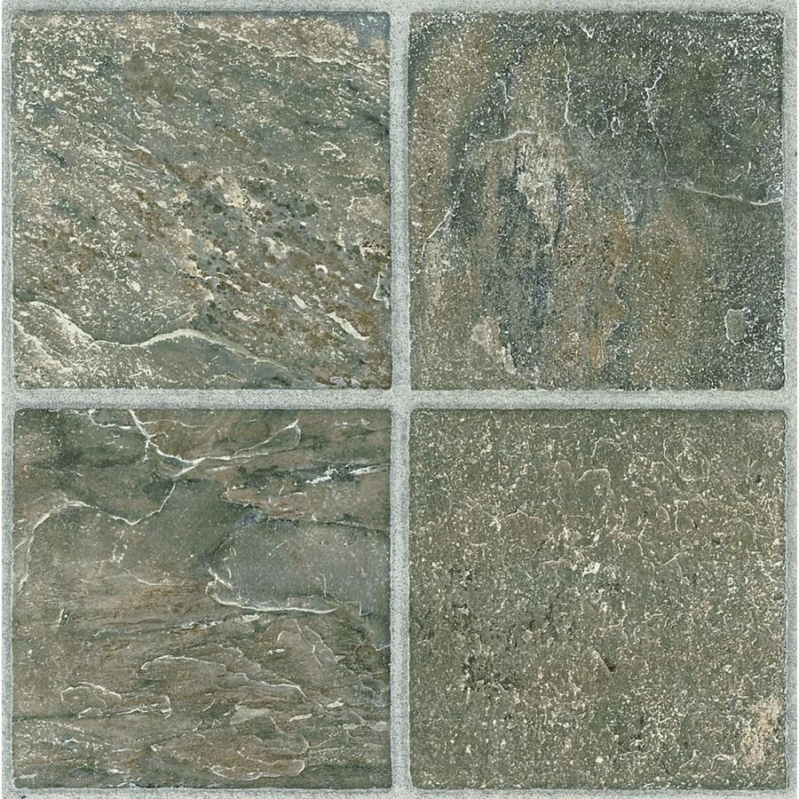 Shop Style Selections 45 Piece 12 In X 12 In Tumbled Stone Peel And Stick Ceramic Vinyl Tile At
