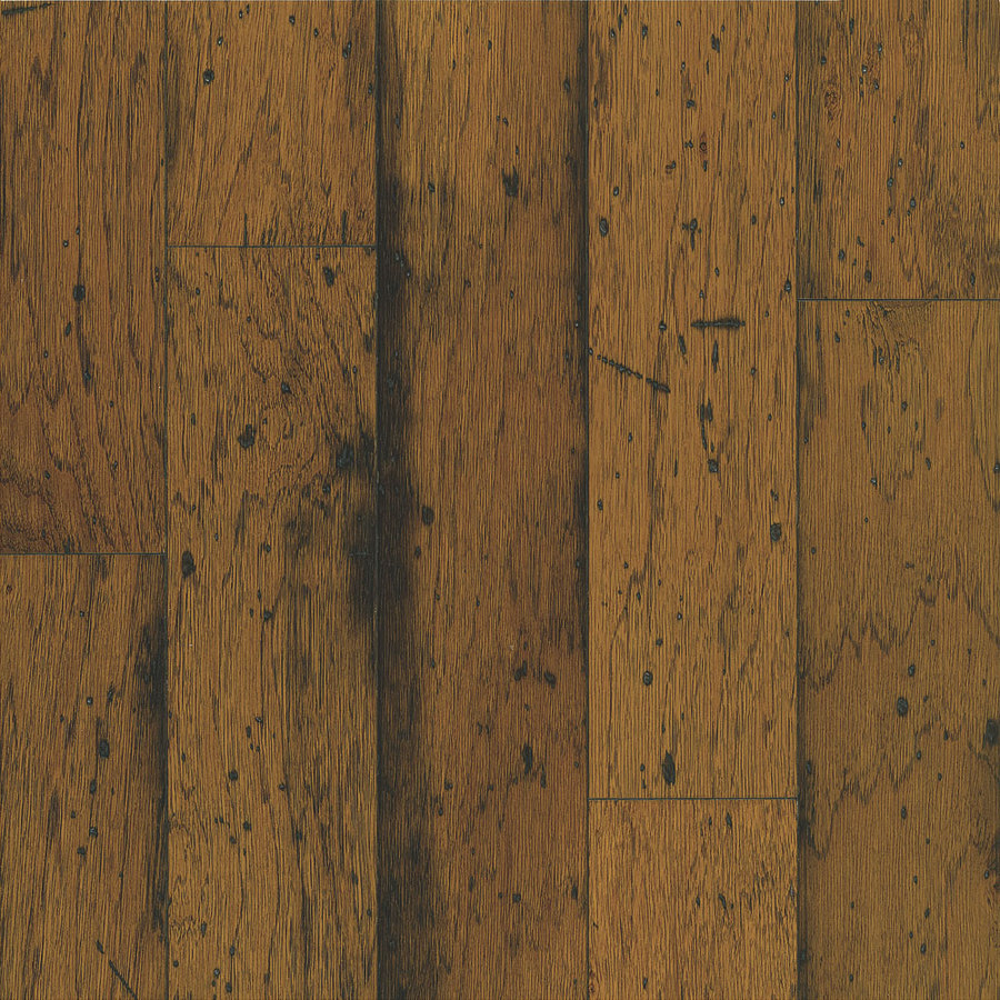 Shop bruce distressed 5 in w prefinished hickory locking for Distressed wood flooring
