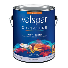 Valspar Signature Gallon Interior Semi-Gloss White Paint and Primer in One
