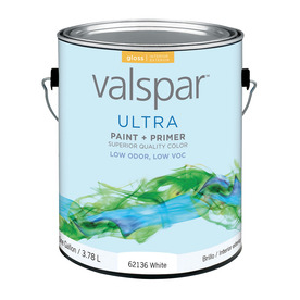 Valspar Ultra Gallon Size Container Interior Gloss White Latex-Base Paint and Primer in One (Actual Net Contents: 128-fl oz)