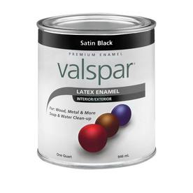 Shop Valspar Satin Black Satin Latex Interior Exterior Paint Actual Net Contents 32 Fl Oz At