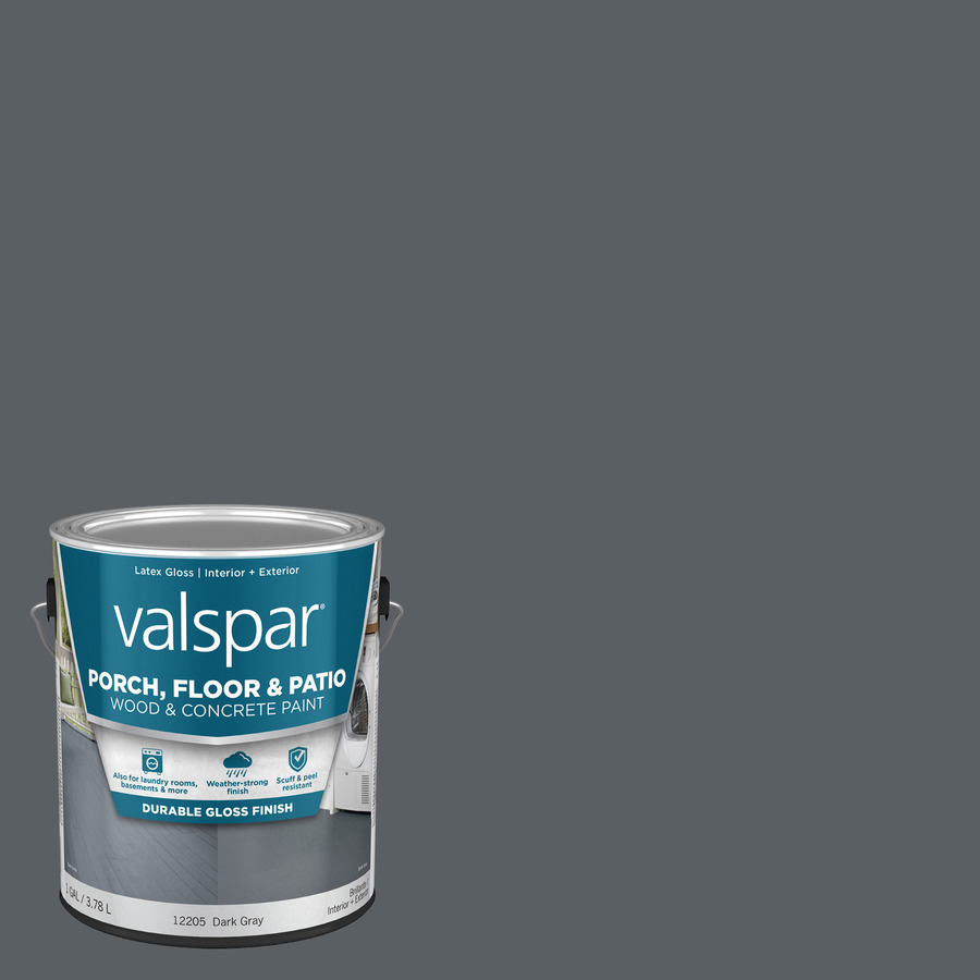 Shop Valspar Gallon Size Container Exterior Satin Porch And Floor Dark Gray Latex Base Paint