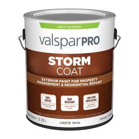Valspar StormCoat White Satin Latex Exterior Paint (Actual Net Contents: 128-fl oz)