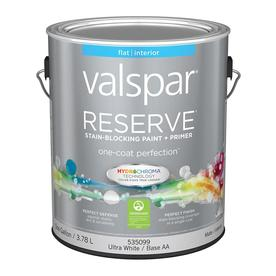 Valspar Reserve White Flat Latex Interior Paint and Primer In One (Actual Net Contents: 128-fl oz)