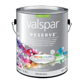 Valspar Reserve 128-fl oz Interior Satin White Latex-Base Paint and Primer in One with Mildew-Resistant Finish