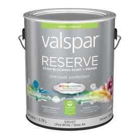 Valspar Reserve Ultra White/Base Aa Satin Latex Interior Paint and Primer in One (Actual Net Contents: 128-fl oz)