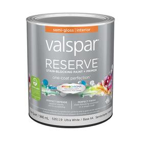 Valspar Reserve White Semi-Gloss Latex Interior Paint and Primer In One (Actual Net Contents: 32-fl oz)