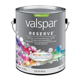 Valspar Reserve Gallon Size Container Exterior Satin White Latex-Base Paint Paint and Primer In One (Actual Net Contents: 128 Fluid Oz.)