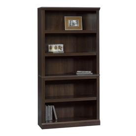 Sauder Cinnamon Cherry 35.25-in W x 69.75-in H x 13.25-in D 5-Shelf Bookcase