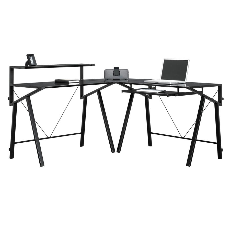 Shop Sauder Vector Black Glass L Shaped Desk At