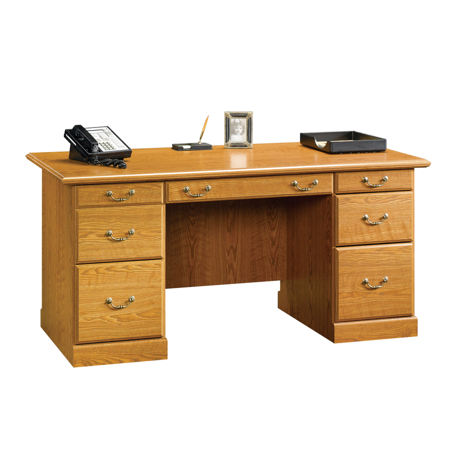 Shop Sauder Orchard Hills Carolina Oak Executive Desk at Lowes.com