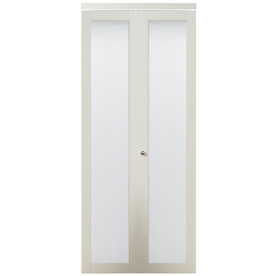 shop kingstar white 1 lite solid tempered frosted glass bifold closet door common 24 in x