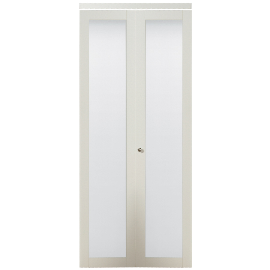 shop kingstar white 1 lite solid core tempered frosted glass bifold closet door common 36 in x. Black Bedroom Furniture Sets. Home Design Ideas