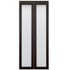 KingStar 24-in x 80-in Espresso 1-Lite Solid Core Tempered Frosted Glass Interior Bifold Closet Door
