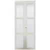 ReliaBilt 36-in x 80-in White 3-Lite Solid Core Tempered Frosted Glass Interior Bifold Closet Door