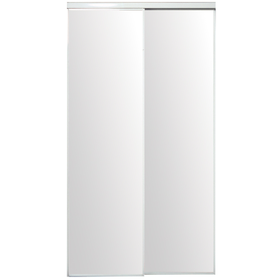 Shop ReliaBilt White Mirrored Sliding Door (Common: 60-in x 80.5-in ...
