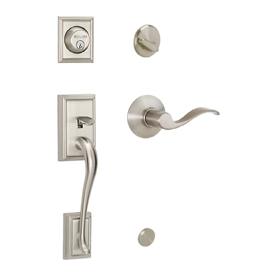 satin nickel single lock keyed entry door handleset at