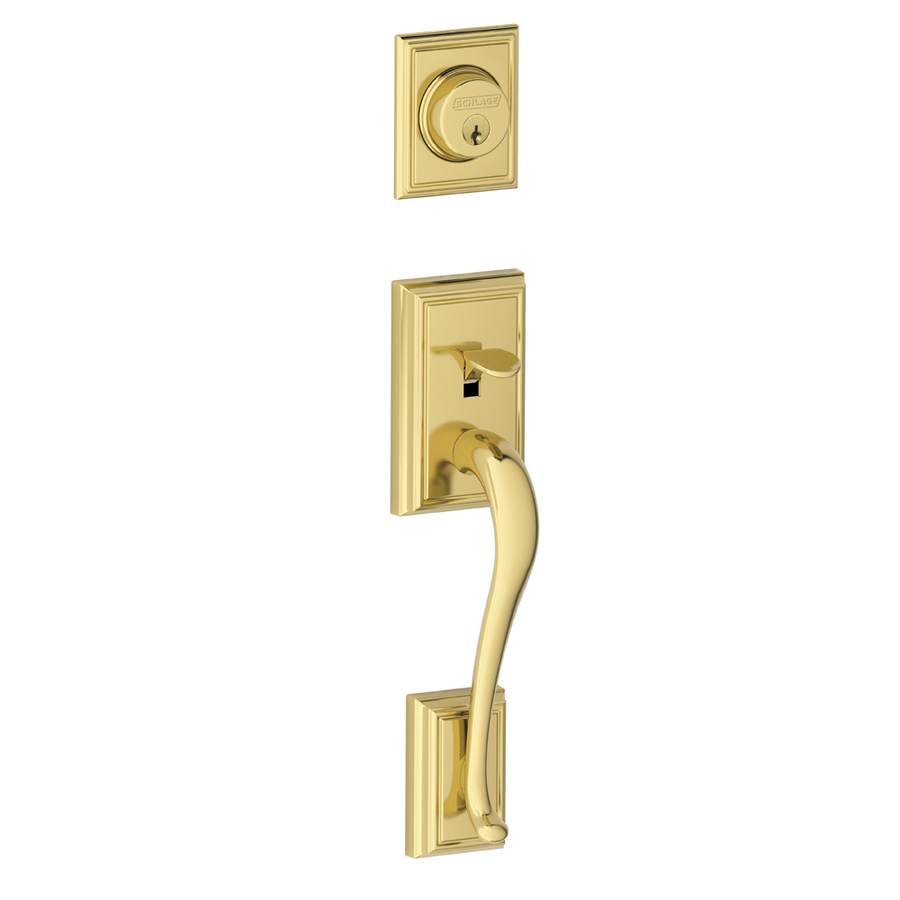 Shop Schlage Adjustable Solid Brass Interior Exterior Lifetime Bright Brass Addison Entry Door