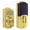 Schlage LiNK Re-Key Techonology Bright Brass Residential Single-Cylinder Electronic Deadbolt