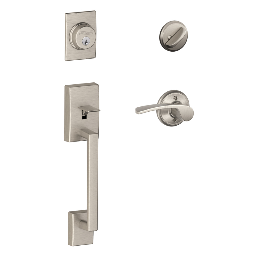 Shop Schlage Century Satin Nickel Single Lock Keyed Entry Door Handleset At L