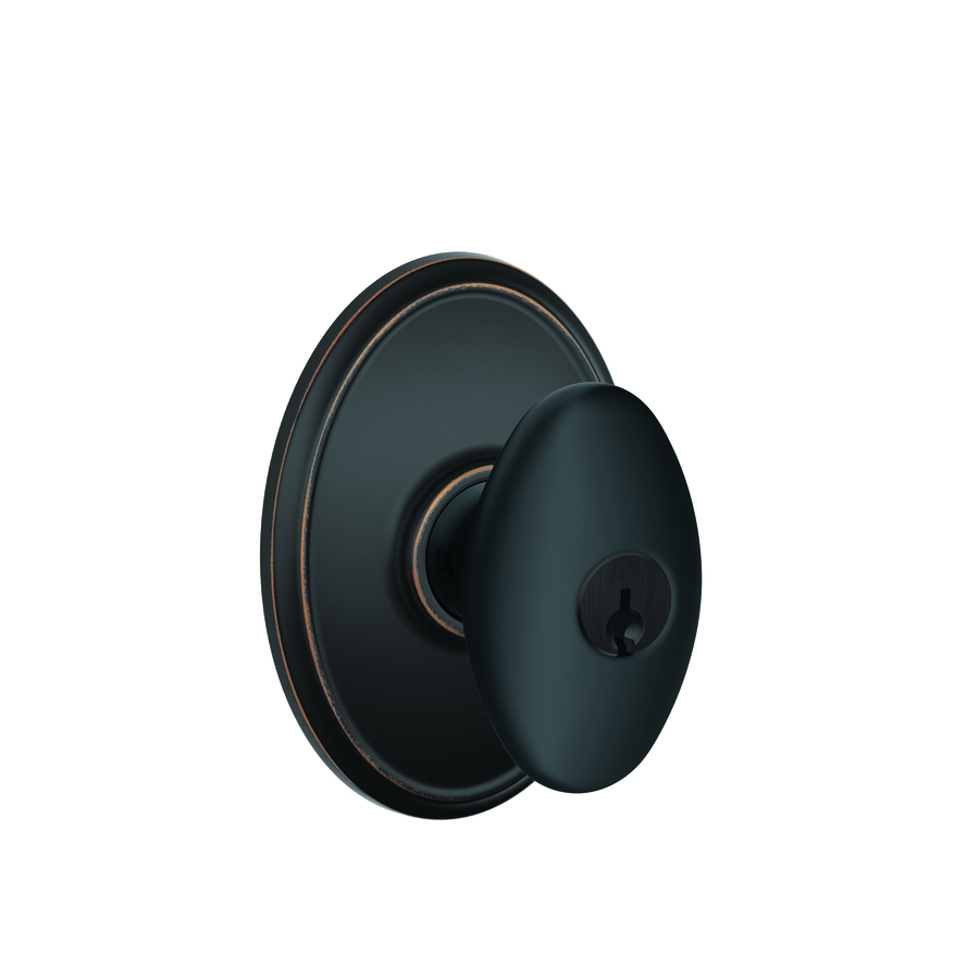 Shop schlage wakefield aged bronze egg keyed entry door for Exterior door knobs