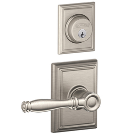 Shop Schlage Adjustable Solid Brass Interior Exterior Satin Nickel Birmingham Entry Door