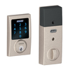 Schlage Connect Century Satin Nickel Single-Cylinder Motorized Touchscreen Electronic Entry Door Deadbolt with Keypad