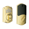 Schlage Camelot Traditional Bright Brass Residential Single-Cylinder Electronic Deadbolt