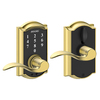 Schlage Touch Camelot Bright Brass Electronic Entry Door Lever