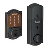 Schlage Sense Camelot Aged Bronze Single-Cylinder Motorized Touchscreen Electronic Entry Door Deadbolt with Keypad